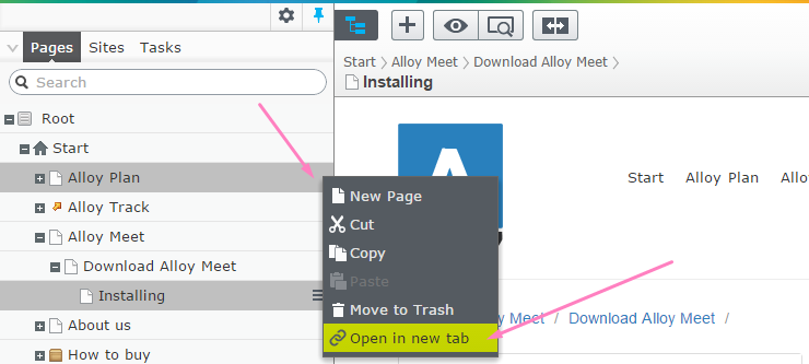 Open unselected page in a new tab from EPiServer tree