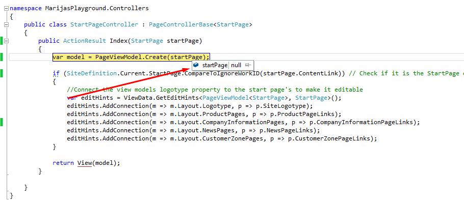 Sniff, page parameter in my controller is null